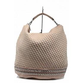 Дамска чанта - висококачествена еко-кожа - розови - EO-12291