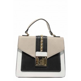 Дамска чанта - висококачествена еко-кожа - бели - EO-12306