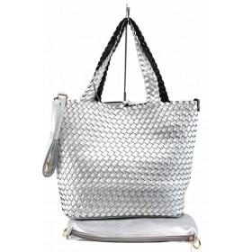 Дамска чанта - висококачествена еко-кожа - сребро - EO-12289