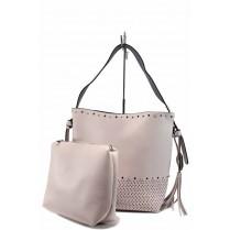 Дамска чанта - висококачествена еко-кожа - розови - EO-12294
