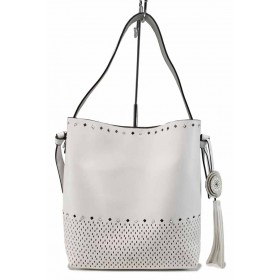 Дамска чанта - висококачествена еко-кожа - бели - EO-12295