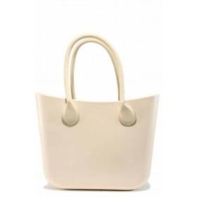 Дамска чанта - висококачествен pvc материал - бежови - EO-12298