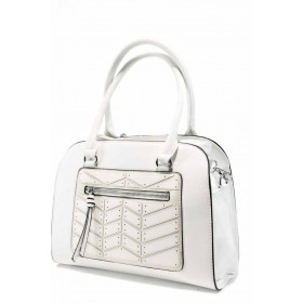 Дамска чанта - висококачествена еко-кожа - бели - EO-12303