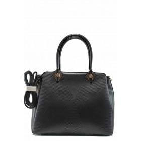 Дамска чанта - висококачествена еко-кожа - черни - EO-12299