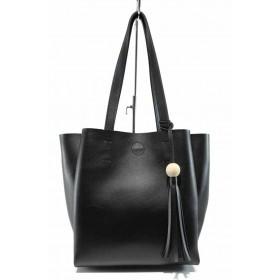 Дамска чанта - висококачествена еко-кожа - черни - EO-12441