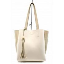 Дамска чанта - висококачествена еко-кожа - бежови - EO-12439