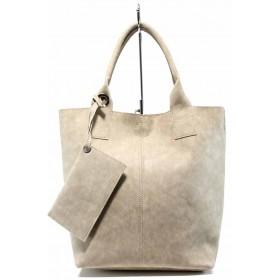 Дамска чанта - висококачествена еко-кожа - бежови - EO-12438