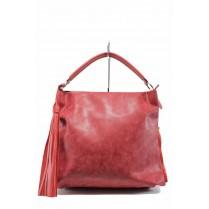 Дамска чанта - висококачествена еко-кожа - червени - EO-12437