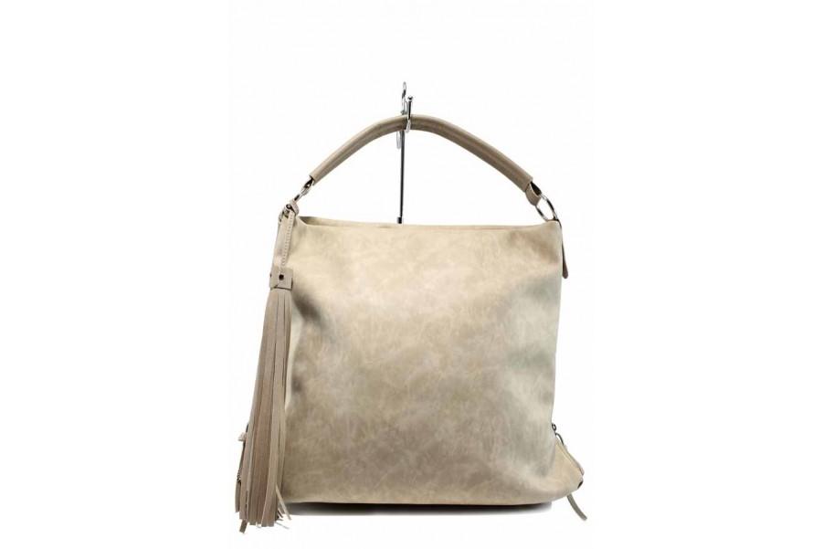Дамска чанта - висококачествена еко-кожа - бежови - EO-12435