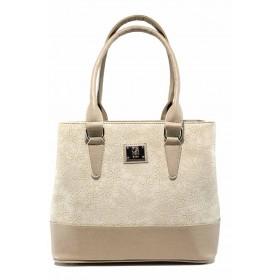 Дамска чанта - висококачествена еко-кожа - бежови - EO-12444