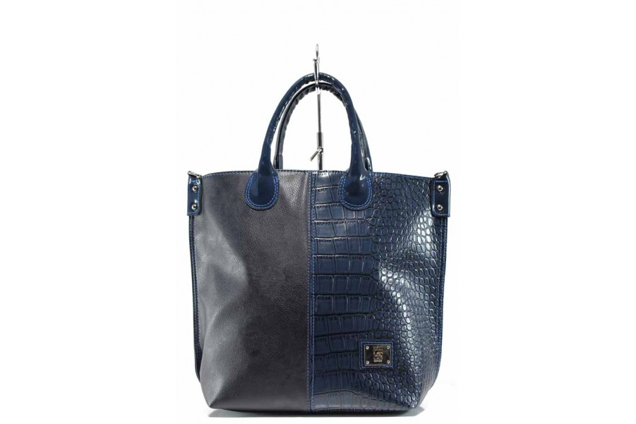 Дамска чанта - висококачествена еко-кожа - сини - EO-12488