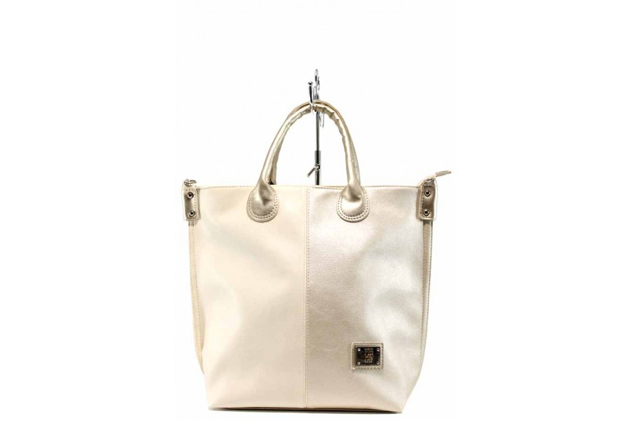 Дамска чанта - висококачествена еко-кожа - бежови - EO-10460