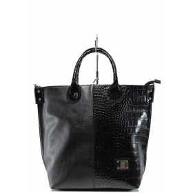 Дамска чанта - висококачествена еко-кожа - черни - EO-12487