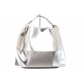 Дамска чанта - висококачествена еко-кожа - сиви - EO-12687