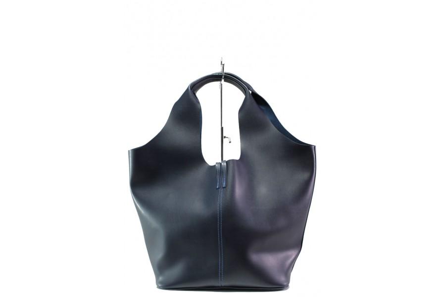 Дамска чанта - висококачествена еко-кожа - тъмносин - EO-13285
