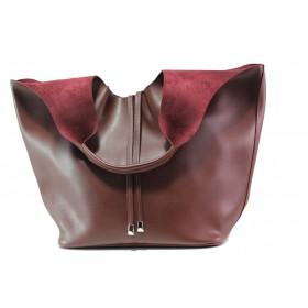 Дамска чанта - висококачествена еко-кожа - бордо - EO-13284