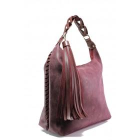 Дамска чанта - висококачествена еко-кожа - бордо - EO-13288