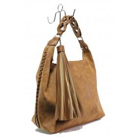 Дамска чанта - висококачествена еко-кожа - кафяви - EO-13287