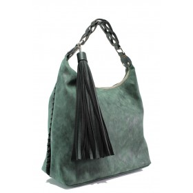 Дамска чанта - висококачествена еко-кожа - зелени - EO-13286