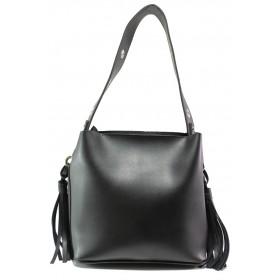 Дамска чанта - висококачествена еко-кожа - черни - EO-13355