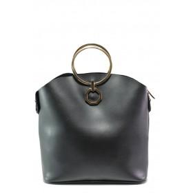 Дамска чанта - висококачествена еко-кожа - черни - EO-13362