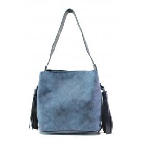 Дамска чанта - висококачествена еко-кожа - тъмносин - EO-13357