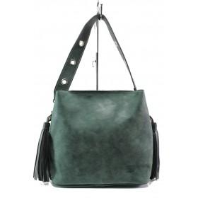 Дамска чанта - висококачествена еко-кожа - зелени - EO-13354