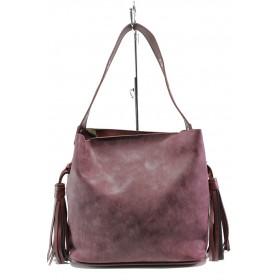 Дамска чанта - висококачествена еко-кожа - бордо - EO-13353