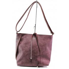 Дамска чанта - висококачествена еко-кожа - бордо - EO-13350