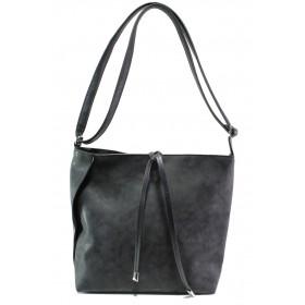 Дамска чанта - висококачествена еко-кожа - черни - EO-13349