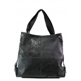 Дамска чанта - висококачествена еко-кожа - черни - EO-13359