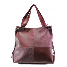 Дамска чанта - висококачествена еко-кожа - бордо - EO-13358