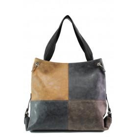 Дамска чанта - висококачествена еко-кожа - черни - EO-13361
