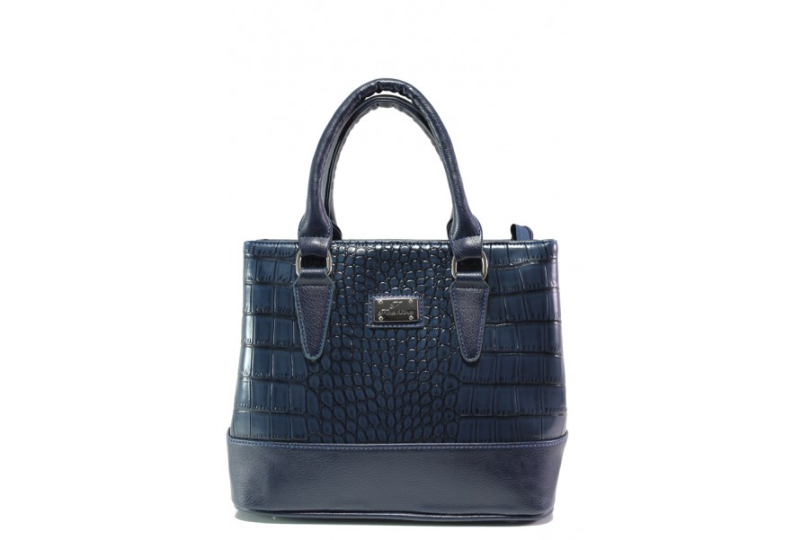 Дамска чанта - висококачествена еко-кожа - тъмносин - EO-13348