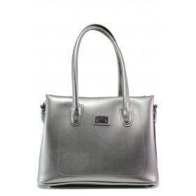 Дамска чанта - висококачествена еко-кожа - сиви - EO-13432