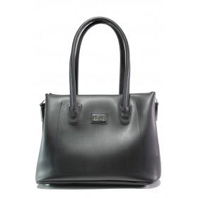 Дамска чанта - висококачествена еко-кожа - черни - EO-13431