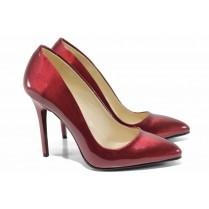 Дамски обувки на висок ток - еко кожа-лак - бордо - EO-12068