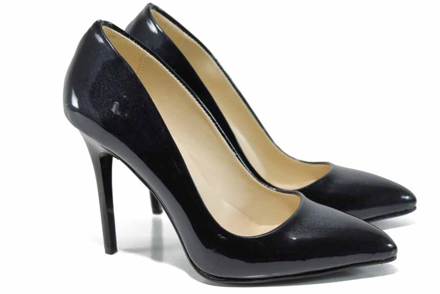 Дамски обувки на висок ток - еко кожа-лак - черни - EO-12067