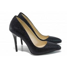 Дамски обувки на висок ток - висококачествена еко-кожа - черни - EO-12080