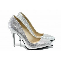 Дамски обувки на висок ток - висококачествена еко-кожа - сребро - EO-12081