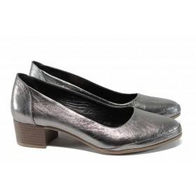 Дамски обувки на среден ток - естествена кожа - сребро - EO-12084