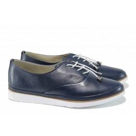 Равни дамски обувки - естествена кожа - тъмносин - EO-10009