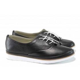 Равни дамски обувки - естествена кожа - черни - EO-10201