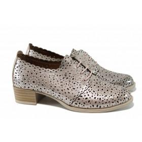 Дамски обувки на среден ток - естествена кожа - розови - EO-12087