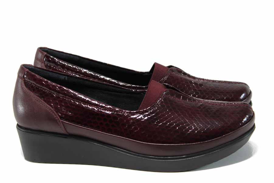 Дамски обувки на платформа - естествена кожа - бордо - EO-12079