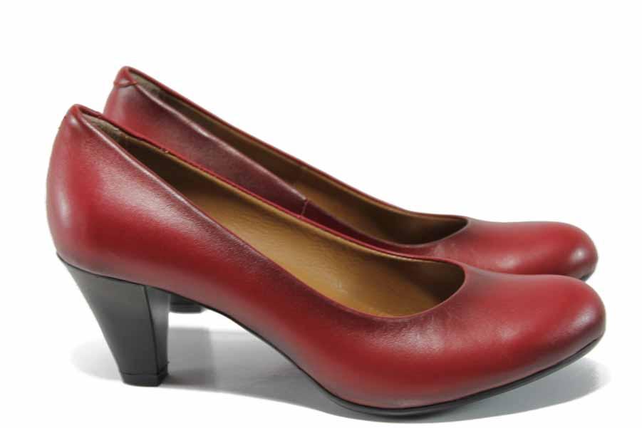 Дамски обувки на среден ток - естествена кожа - червени - EO-12082