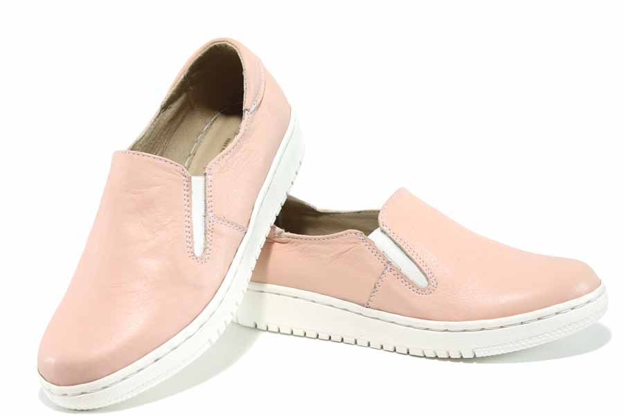 Равни дамски обувки - естествена кожа - розови - EO-12107