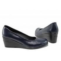 Дамски обувки на платформа - естествена кожа - тъмносин - EO-12118