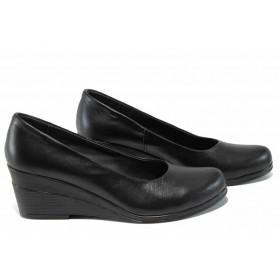 Дамски обувки на платформа - естествена кожа - черни - EO-12117