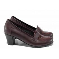 """Дамски обувки на среден ток - естествена кожа с """"кроко"""" мотив - бордо - EO-12114"""